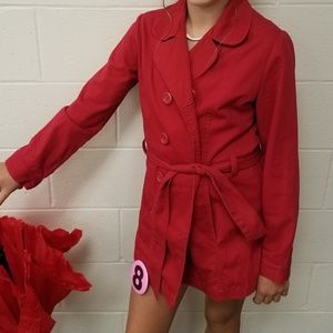 Girl's red cotton jacket